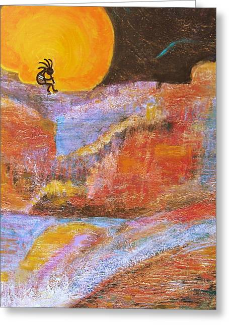 Kokopelli And The Big Moon Greeting Card by Anne-Elizabeth Whiteway