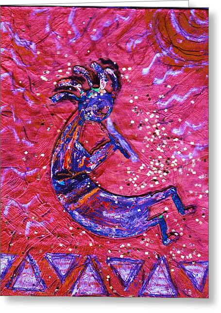 Kokopelli Dance Greeting Card by Anne-Elizabeth Whiteway