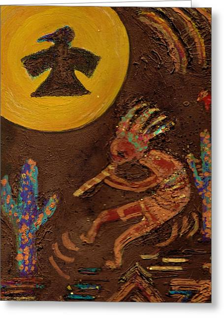 Kokopelli Dancing II Greeting Card by Anne-Elizabeth Whiteway