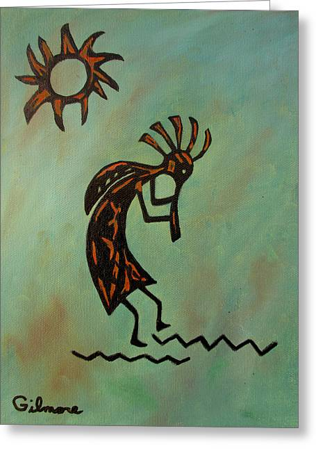 Kokopelli Flute Player Greeting Card by Roseann Gilmore