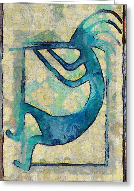 Kokopelli In Blue And Brown Greeting Card