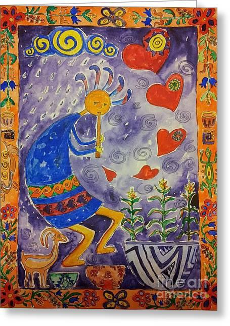 Kokopelli In Love Greeting Card by Maryna Salagub