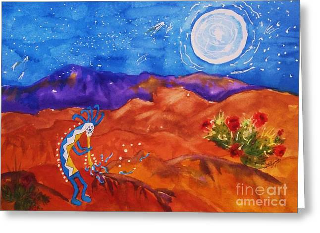 Kokopelli Playing To The Moon Greeting Card by Ellen Levinson