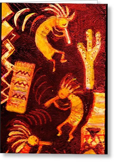 Kokopellis Dancing  Greeting Card by Anne-Elizabeth Whiteway