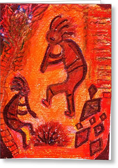 Kokopellis Fiery Dance Greeting Card by Anne-Elizabeth Whiteway