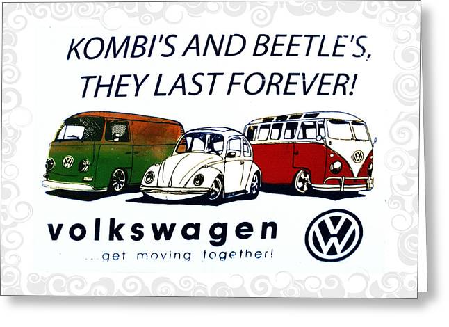Kombis And Beetles Last Forever Greeting Card by Bill Cannon