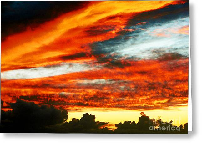 Greeting Card featuring the photograph Kona Sunset 77 Lava In The Sky  by David Lawson