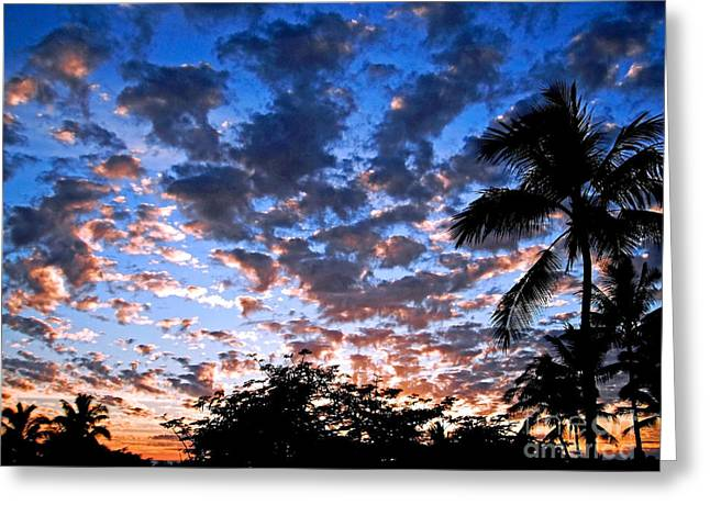 Kona Sunset Greeting Card by David Lawson