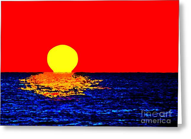 Kona Sunset Pop Art Greeting Card by David Lawson