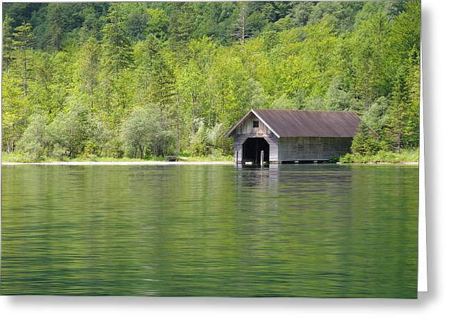 Konigsee Boathouse Greeting Card by Jeremy Voisey