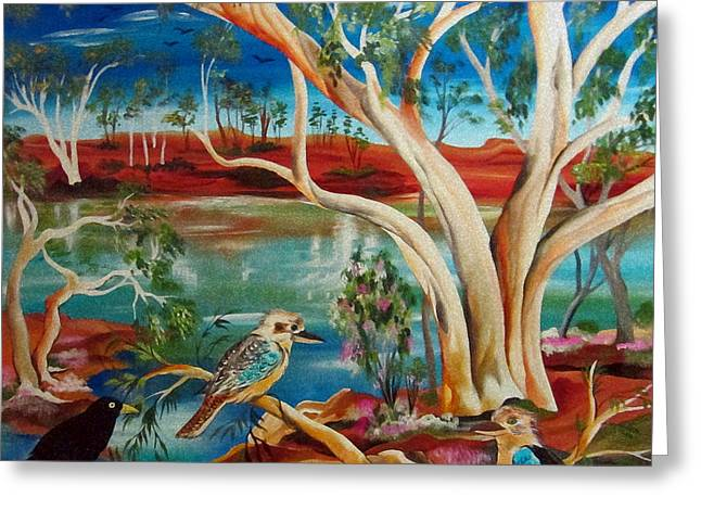 Greeting Card featuring the painting Kookaburras Billabong by Roberto Gagliardi