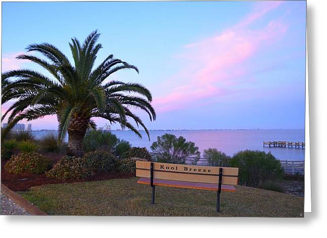 Kool Breeze Bench At Sunrise Greeting Card by Jeff at JSJ Photography