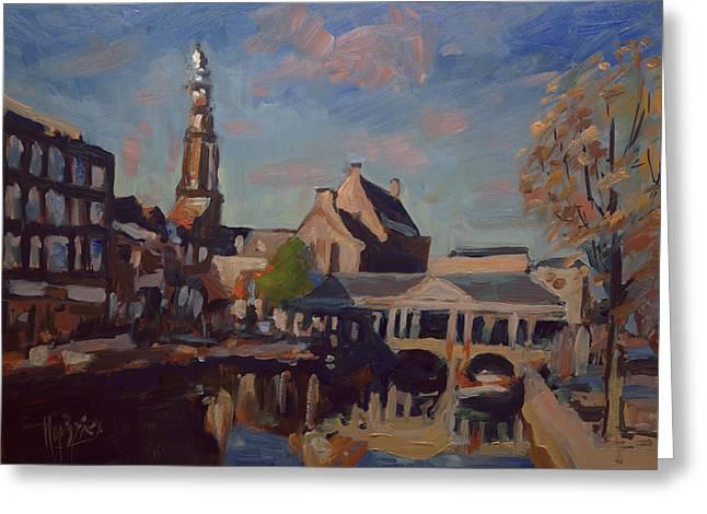 Koorn Bridge Leiden Greeting Card by Nop Briex