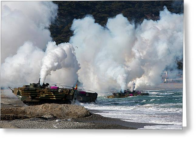 Korean Amphibious Assault Vehicles Land Greeting Card by Stocktrek Images