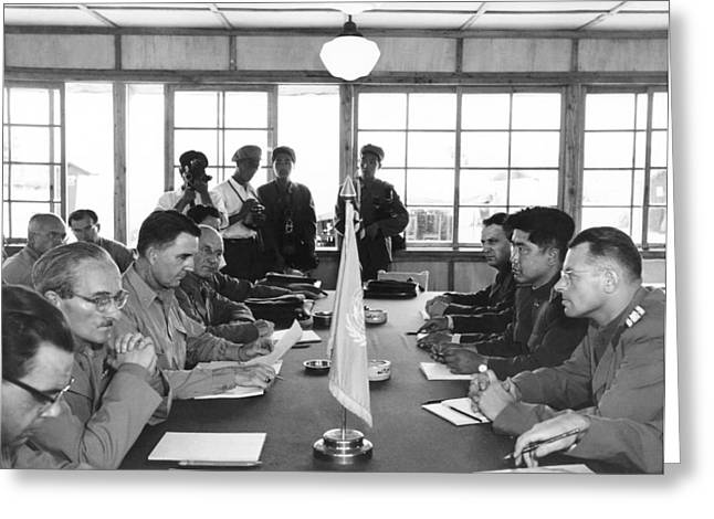 Korean Armistice Meeting Greeting Card by Underwood Archives