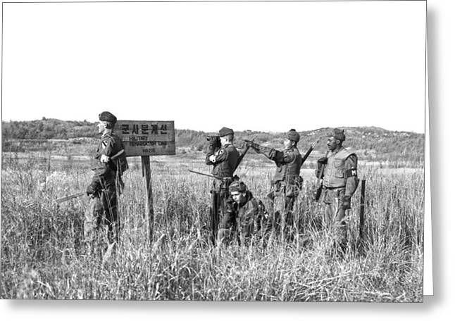 Korean Demarcation Line Greeting Card by Underwood Archives