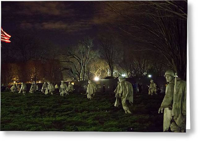 Korean War Memorial At Night Greeting Card by Natural Focal Point Photography