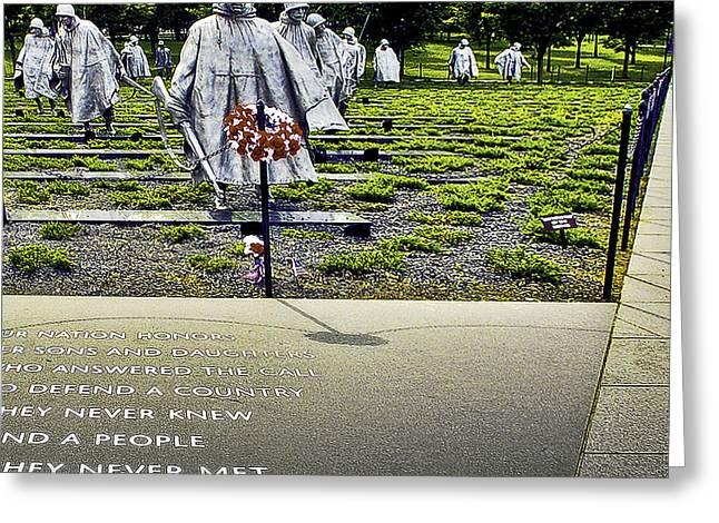 Korean War Memorial Washington D.c. Greeting Card by Bob and Nadine Johnston
