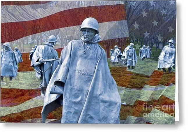 Korean War Veterans Memorial Bronze Sculpture American Flag Greeting Card by David Zanzinger