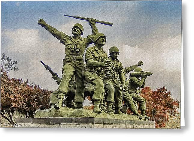 Korean War Veterans Memorial South Korea Greeting Card by Bob and Nadine Johnston