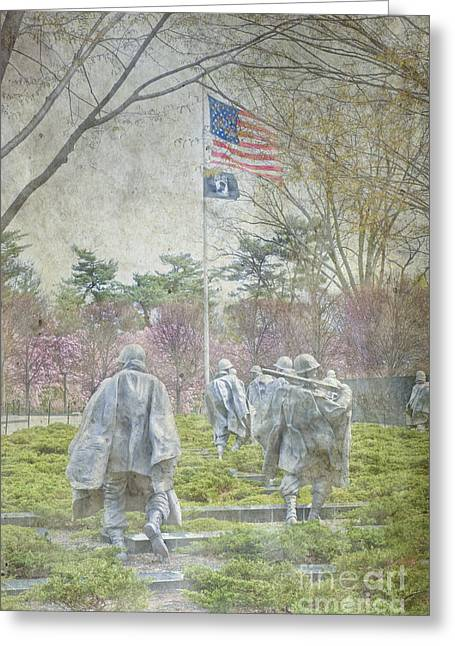 Korean War Veterans Memorial Washington Dc Beautiful Unique   Greeting Card by David Zanzinger