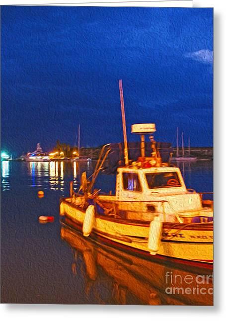 Kos Fisherman Boat Greeting Card by Nur Roy
