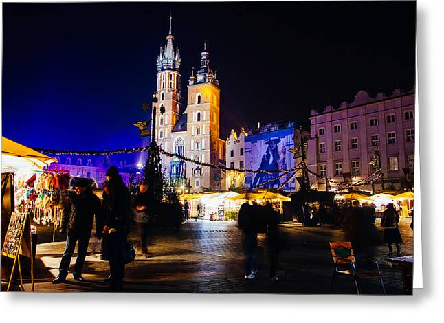 Krakow By Night Greeting Card by Pati Photography