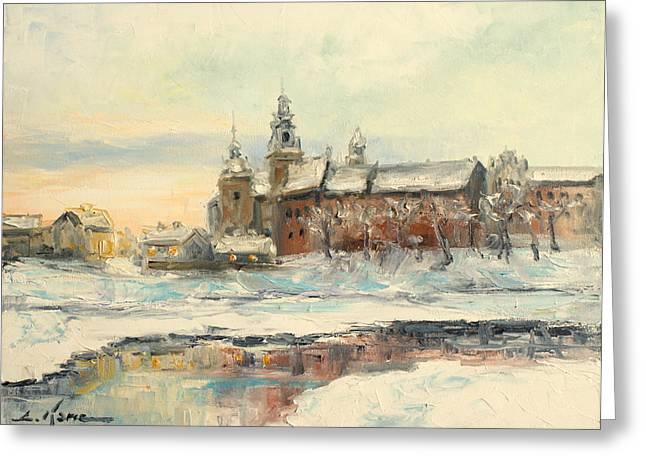Krakow - Wawel Castle Winter Greeting Card