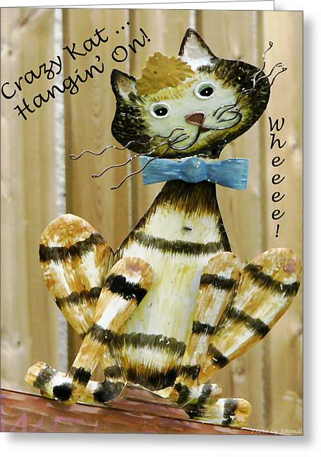 Greeting Card featuring the photograph Krazy Kat Hangin On by Rhonda McDougall