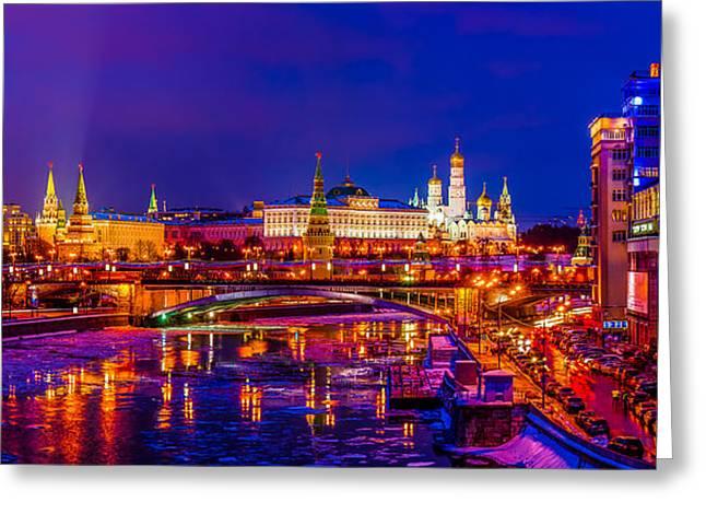 Kremlin At Winter Night Greeting Card by Alexander Senin
