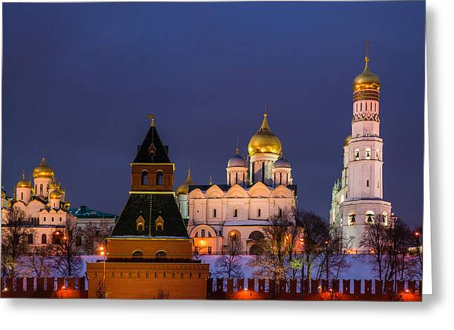 Kremlin Cathedrals At Night - Featured 3 Greeting Card by Alexander Senin