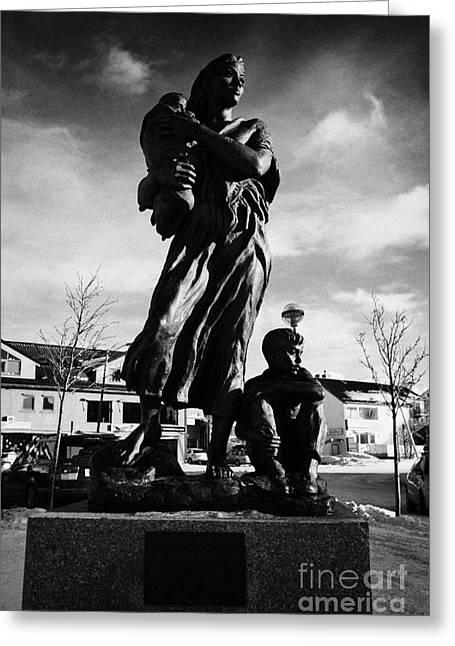 Krigsmodremonument Wartime Mothers Monument Kirkenes Finnmark Norway Europe Greeting Card by Joe Fox