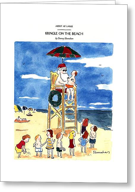 Kringle On The Beach Greeting Card