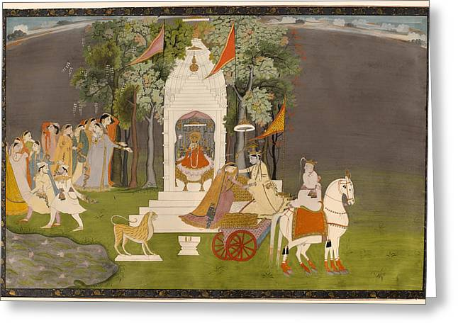 Krishna Abducting Rukmani From The Temple Greeting Card by Mountain Dreams