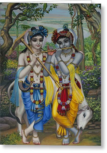 Krishna And Balaram Greeting Card by Vrindavan Das