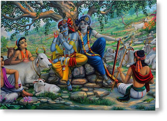 Krishna And Balaram With Friends On Govardhan Hill Greeting Card