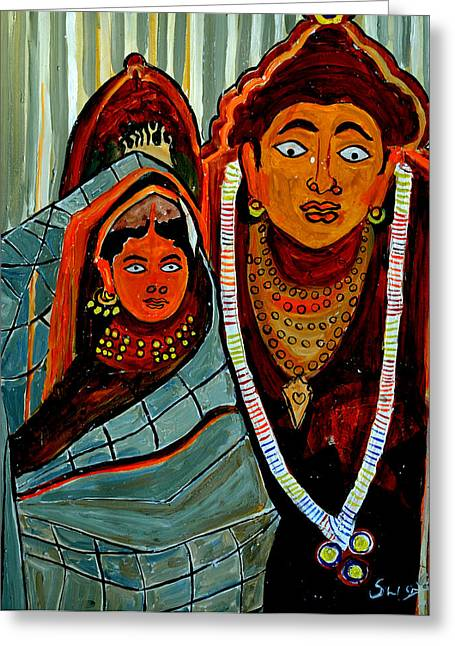 Greeting Card featuring the painting Krishna And Radha by Anand Swaroop Manchiraju