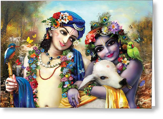 krishna-Balarama Greeting Card by Lila Shravani