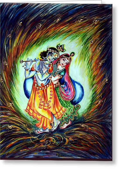 Krishna Greeting Card by Harsh Malik