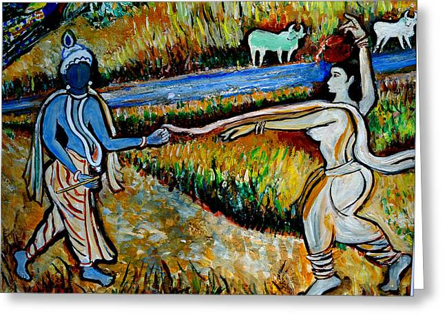 Greeting Card featuring the painting Krishna In   Madhura  by Anand Swaroop Manchiraju