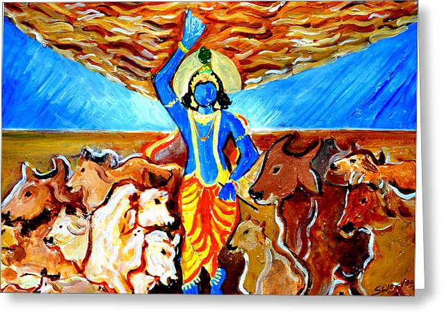 Greeting Card featuring the painting Krishna Lifting Govardhan Hill by Anand Swaroop Manchiraju