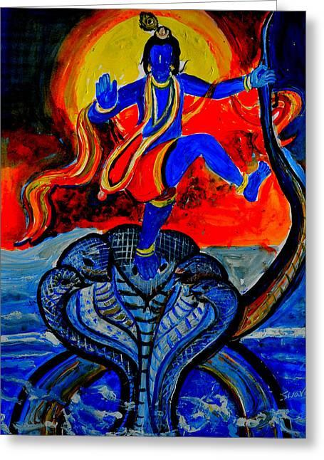 Greeting Card featuring the painting Krishna On Kalindimardan by Anand Swaroop Manchiraju