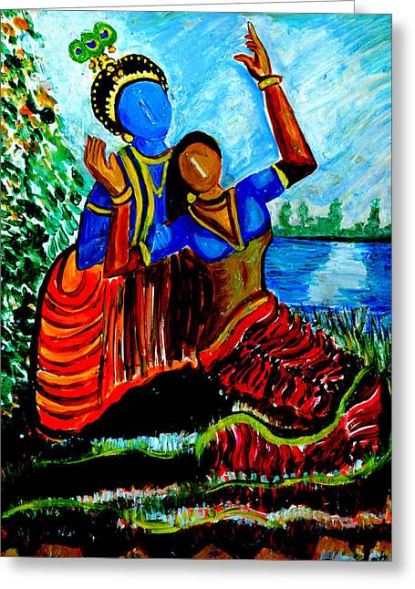Greeting Card featuring the painting Krishna  Playing With Radha by Anand Swaroop Manchiraju