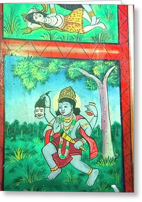 Krishna, Shree Laxmi Narihan Ji Hindu Greeting Card by Inger Hogstrom