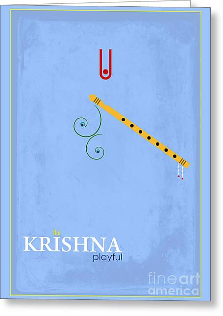 Krishna The Playful Greeting Card by Tim Gainey