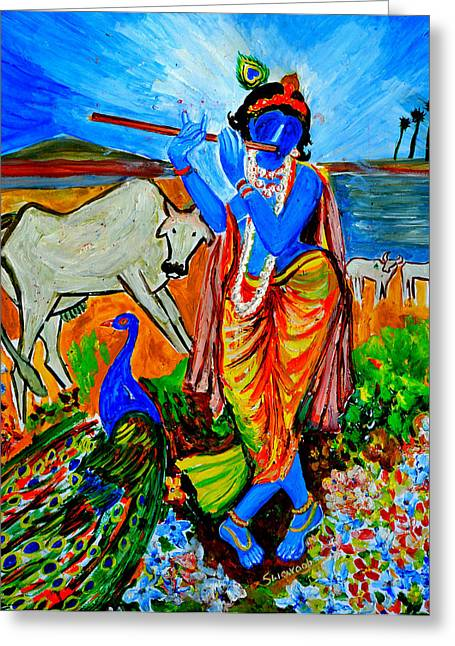 Greeting Card featuring the painting Krishna With Cow by Anand Swaroop Manchiraju