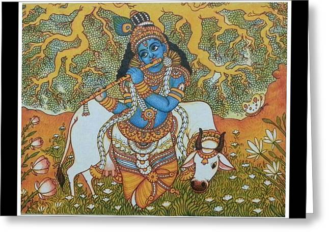 Krishna With Cow Mural Painting Greeting Card