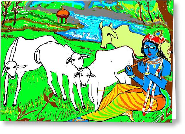 Krishna With Cows Greeting Card by Anand Swaroop Manchiraju