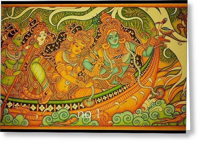 Krishna With Gopikas On A Boat Greeting Card