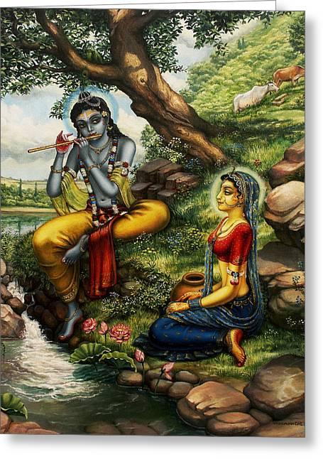 Krishna Greeting Cards - Krishna with Radha Greeting Card by Vrindavan Das